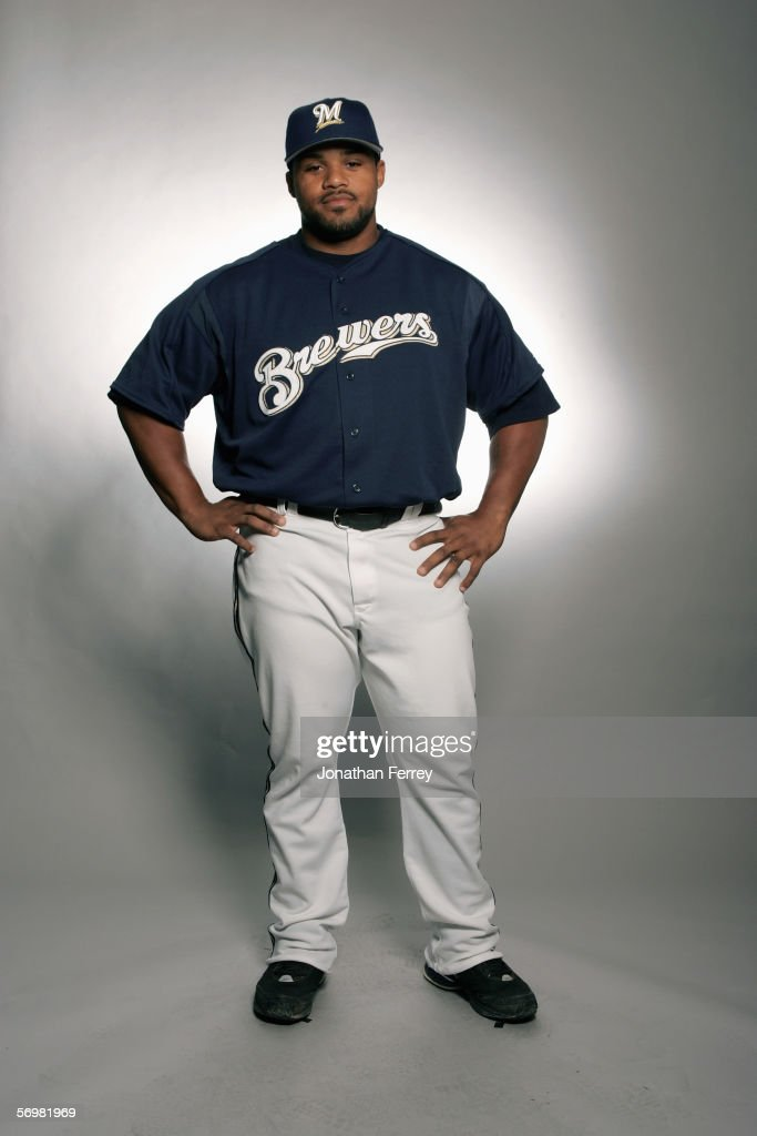 Prince Fielder of the Milwaukee Brewers poses for a portrait during the Milwaukee Brewers Media Day on February 27 2006 at Maryvale Stadium in...