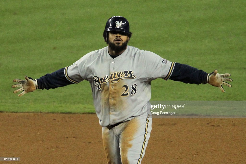 <a gi-track='captionPersonalityLinkClicked' href=/galleries/search?phrase=Prince+Fielder&family=editorial&specificpeople=209392 ng-click='$event.stopPropagation()'>Prince Fielder</a> #28 of the Milwaukee Brewers reacts after a double in the fifth inning of Game Four of the National League Divison Series against the Arizona Diamondbacks at Chase Field on October 5, 2011 in Phoenix, Arizona.