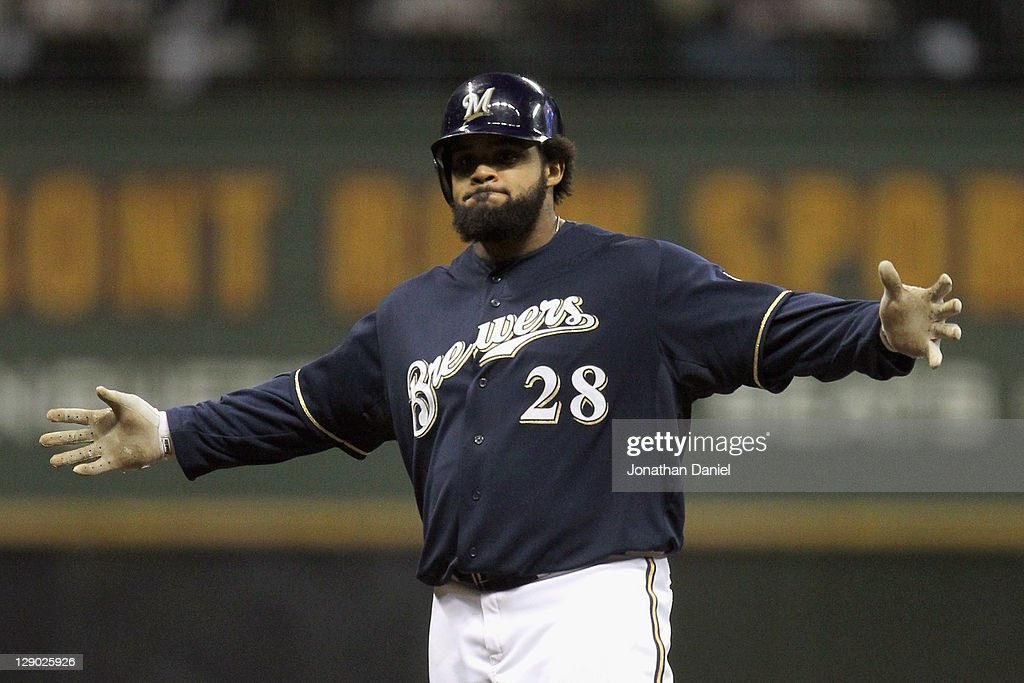 <a gi-track='captionPersonalityLinkClicked' href=/galleries/search?phrase=Prince+Fielder&family=editorial&specificpeople=209392 ng-click='$event.stopPropagation()'>Prince Fielder</a> #28 of the Milwaukee Brewers reacts after he hit a double in the bottom of the fourth inning against the St. Louis Cardinals during Game Two of the National League Championship Series at Miller Park on October 10, 2011 in Milwaukee, Wisconsin.