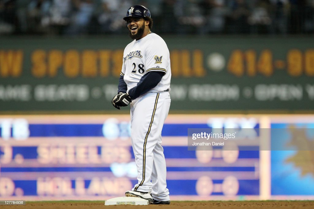 <a gi-track='captionPersonalityLinkClicked' href=/galleries/search?phrase=Prince+Fielder&family=editorial&specificpeople=209392 ng-click='$event.stopPropagation()'>Prince Fielder</a> #28 of the Milwaukee Brewers reacts after hitting a double in the fourth inning against the Arizona Diamondbacks during Game One of the National League Division Series at Miller Park on October 1, 2011 in Milwaukee, Wisconsin.