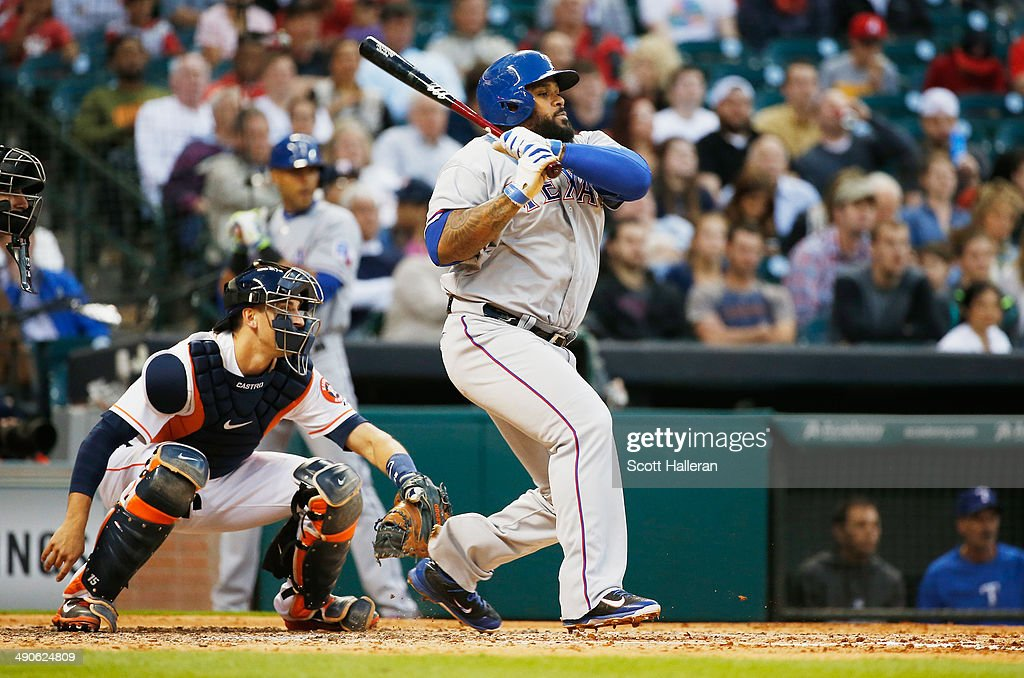 Prince Fielder #84 of the Texas Rangers coonects on an RBI single in the third inning of their game against the Houston Astros at Minute Maid Park on May 14, 2014 in Houston, Texas.