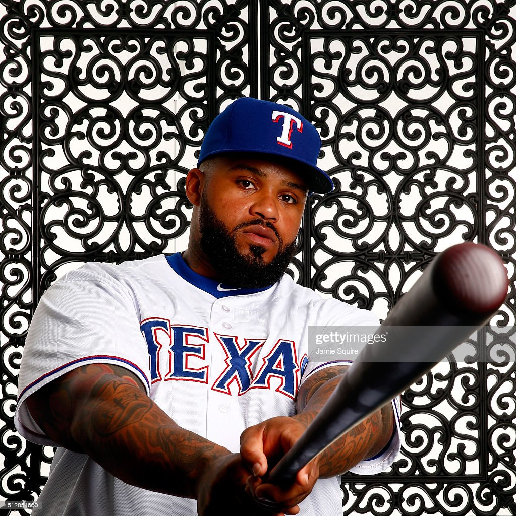 Prince Fielder #84 of the Texas Rangers poses during a spring training photo shoot on February 28, 2016 in Surprise, Arizona.