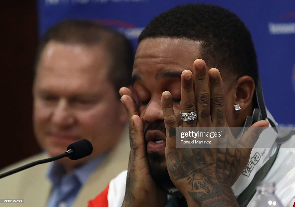 Prince Fielder #84 of the Texas Rangers talks with the media after doctors recommended Fielder to end his baseball playing career on August 10, 2016 in Arlington, Texas.