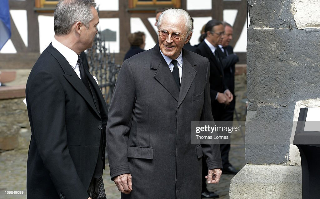 Prince Franz of Bavaria (R) attends the funeral service for Moritz Landgrave of Hesse at Johanniskirche on June 3, 2013 in Kronberg, Germany. Moritz of Hesse died aged 86 years on May 23 in Frankfurt. A great-grandson of the Emperor Frederick III and great-grandson of Queen Victoria, he was related to many European royal families.