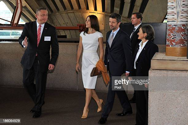 Prince Frederik and Princess Mary of Denmark are escorted by Jens HolstNielson Director at The Confederation of Danish Industry and Sydney Opera...
