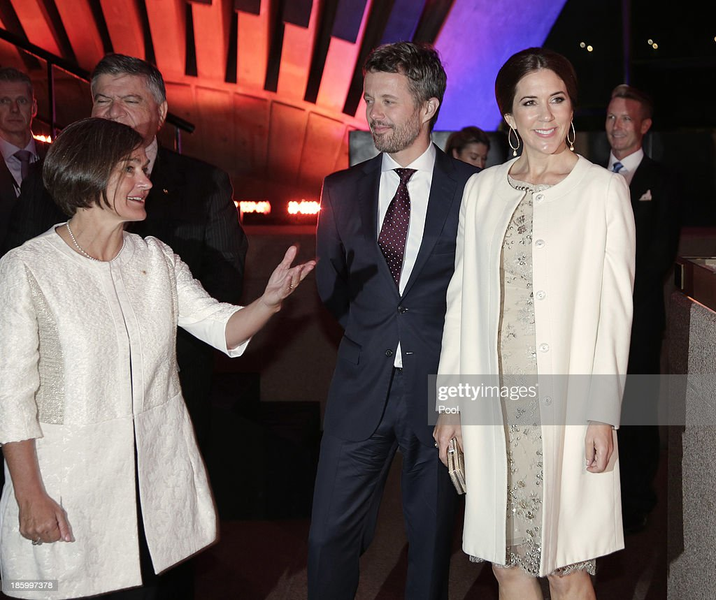 Prince Frederik and Princess Mary of Denmark are greeted by Opera House CEO Louise Herron as they arrive for the Sydney Opera House's 40th Anniversary Official Reception at the Bennelong Restaurant on October 27, 2013 in Sydney, Australia. Prince Frederik and Princess Mary will visit Sydney for five days and will attend events to celebrate the 40th anniversary of the Sydney Opera House and the Danish architect who designed the landmark, Jorn Utzen.