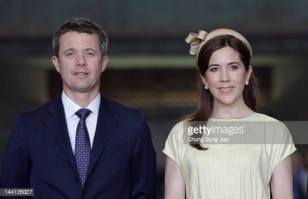 Prince Frederik of Denmark and Crown Princess Mary of Denmark visit at the War Memorial of Korea on May 10 2012 in Seoul South Korea The Crown Prince...