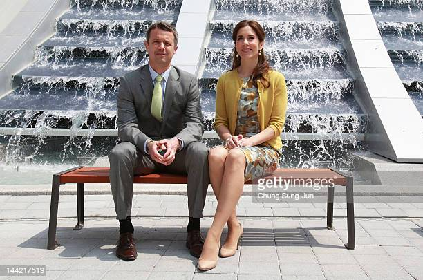 Prince Frederik of Denmark and Crown Princess Mary of Denmark visit at the 2012 Yeosu Expo on May 12 2012 in Yeosu South Korea The Crown Prince and...