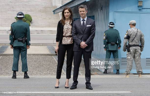 Prince Frederik of Denmark and Crown Princess Mary of Denmark visit at the border village of panmunjom between South and North Korea in the...