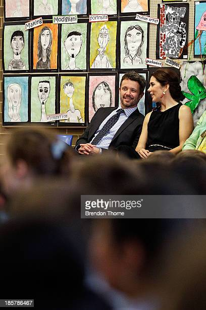 Prince Frederik of Denmark and Princess Mary of Denmark attend the Premier's Reading Challenge at Five Dock primary school on October 25 2013 in...