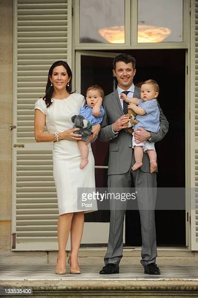 Prince Frederik of Denmark and Princess Mary of Denmark pose for photographs with their twins Princess Josephine and Prince Vincent at Admiralty...