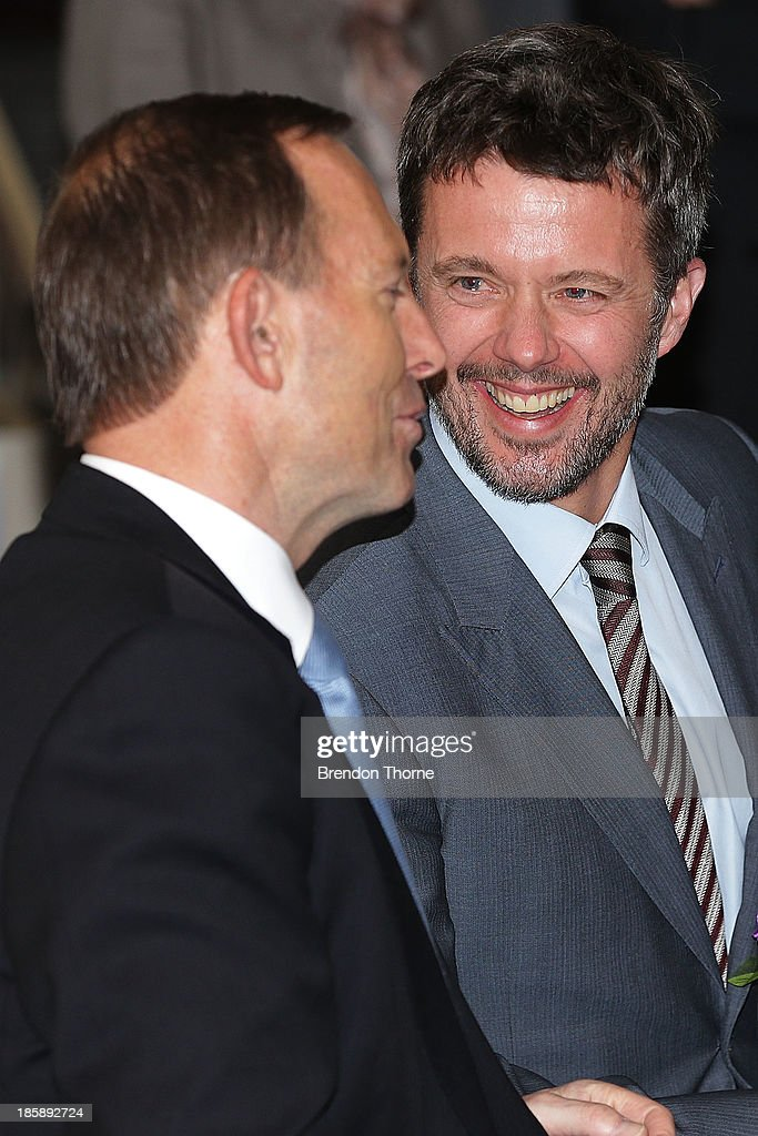 <a gi-track='captionPersonalityLinkClicked' href=/galleries/search?phrase=Prince+Frederik+of+Denmark&family=editorial&specificpeople=171286 ng-click='$event.stopPropagation()'>Prince Frederik of Denmark</a> shares a joke with Australian Prime Minister, <a gi-track='captionPersonalityLinkClicked' href=/galleries/search?phrase=Tony+Abbott&family=editorial&specificpeople=220956 ng-click='$event.stopPropagation()'>Tony Abbott</a> at the launch of eSmart Homes Digital License, The Alannah and Madeline Foundation on October 26, 2013 in Sydney, Australia. Prince Frederik and Princess Mary will visit Sydney for five days and will attend events to celebrate the 40th anniversary of the Sydney Opera House and the Danish architect who designed the landmark, Jorn Utzen.