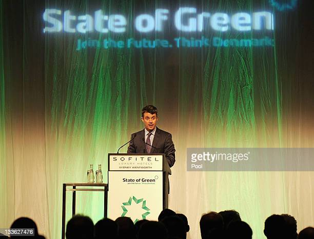 Prince Frederik of Denmark speaks at the opening of 'State of Green Join the Future Think Denmark' at the Hotel Sofitel Wentworth on November 21 2011...