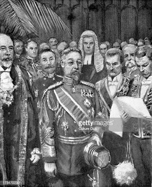Prince Fushimi Sadanaru 's visit to Britain at the Guildhall London May 1907 From drawing by Arthur Garratt of the period 22nd head of the...