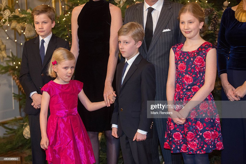 Prince Gabrie, Princess Eleonore, Prince Emmanuel and Princess Elisabeth of Belgium attend the Xmas Concert at the Royal Palace on December 17, 2014 in Brussel, Belgium.