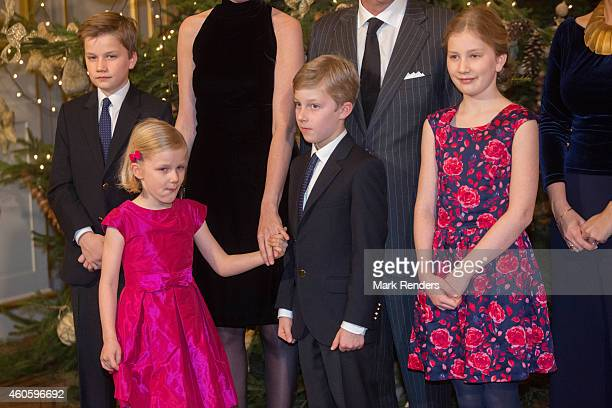 Prince Gabrie Princess Eleonore Prince Emmanuel and Princess Elisabeth of Belgium attend the Xmas Concert at the Royal Palace on December 17 2014 in...