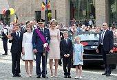 Prince Gabriel Crown Princess Elisabeth King Philippe of Belgium Queen Mathilde of Belgium Prince Emmanuel and Princess Eleonore pose after attending...