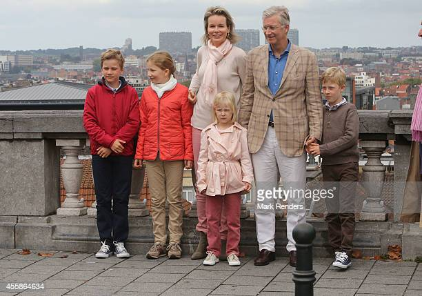 Prince Gabriel Crown Princess Elisabeth Queen Mathilde of Belgium Princess Eleonore King Philippe of Belgium and Prince Emmanuel attend the Car Free...