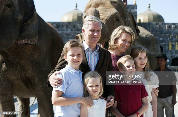 Prince Gabriel King Philippe of Belgium Princess Eleonore Prince Emmanuel Queen Mathilde of Belgium and Crown Princess Elisabeth pose for a family...