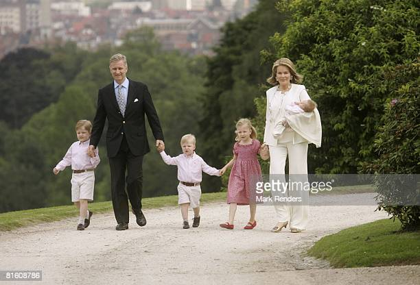 Prince Gabriel of Belgium Prince Philippe of Belgium Prince Emmanuel of Belgium Princess Elisabeth of Belgium and Princess Mathilde of Belgium with...