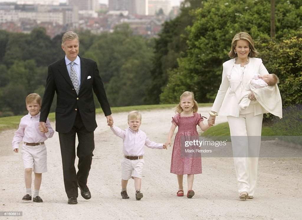 Prince Gabriel of Belgium, Prince Philippe of Belgium, Prince Emmanuel of Belgium, Princess Elisabeth of Belgium and Princess Mathilde of Belgium with baby Princess Eleonore of Belgium attend a press photocall at Laeken Castle on June 17, 2008 in Brussels, Belgium.