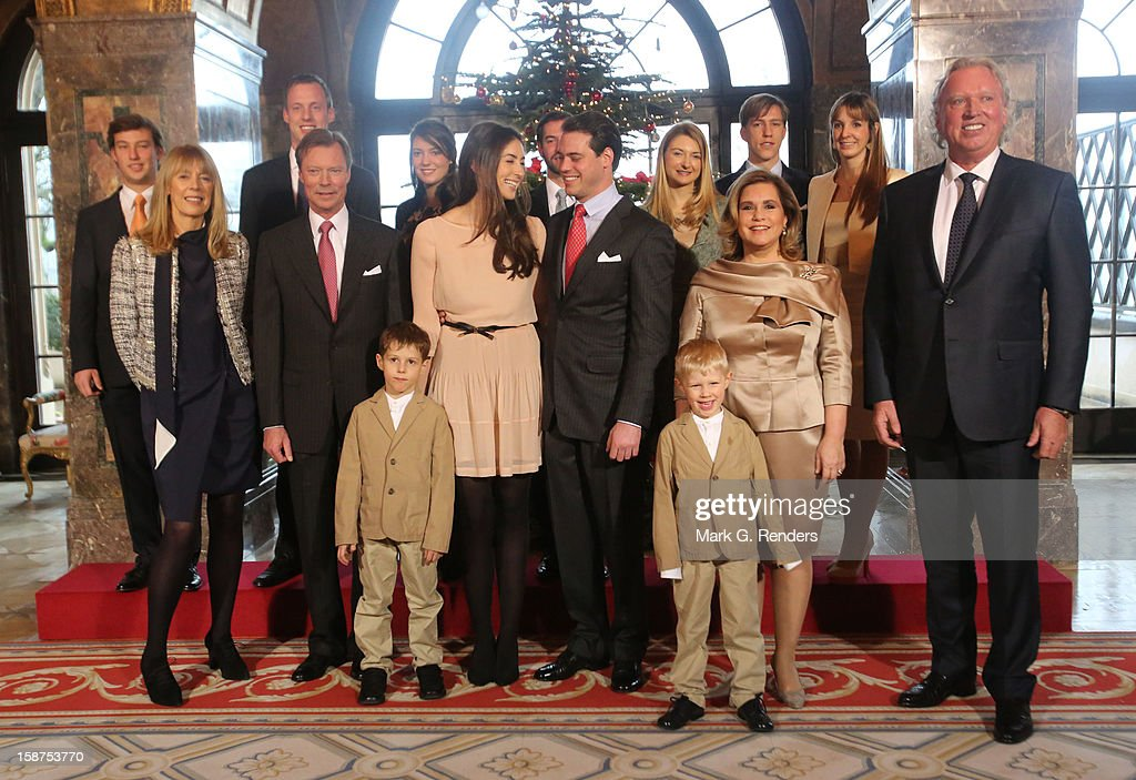 Prince Gabriel of Luxembourg, Prince Noah of Luxembourg, Mdme Lademacher, Grand Duke Henri of Luxembourg, Claire Lademacher, <a gi-track='captionPersonalityLinkClicked' href=/galleries/search?phrase=Prince+Felix+of+Luxembourg&family=editorial&specificpeople=6881094 ng-click='$event.stopPropagation()'>Prince Felix of Luxembourg</a>, <a gi-track='captionPersonalityLinkClicked' href=/galleries/search?phrase=Grand+Duchess+Maria+Teresa&family=editorial&specificpeople=159000 ng-click='$event.stopPropagation()'>Grand Duchess Maria Teresa</a> of Luxembourg, Mr. Lademacher, Prince Sebastien of Luxembourg, Felix Lademacher, <a gi-track='captionPersonalityLinkClicked' href=/galleries/search?phrase=Princess+Alexandra+of+Luxembourg&family=editorial&specificpeople=160220 ng-click='$event.stopPropagation()'>Princess Alexandra of Luxembourg</a>, Prince Guillaume of Luxembourg, Princess Stephanie of Luxembourg, <a gi-track='captionPersonalityLinkClicked' href=/galleries/search?phrase=Prince+Louis+of+Luxembourg&family=editorial&specificpeople=674475 ng-click='$event.stopPropagation()'>Prince Louis of Luxembourg</a> and <a gi-track='captionPersonalityLinkClicked' href=/galleries/search?phrase=Princess+Tessy+of+Luxembourg&family=editorial&specificpeople=7064107 ng-click='$event.stopPropagation()'>Princess Tessy of Luxembourg</a> attend a Portrait Session at Chateau De Berg on December 27, 2012 in Luxembourg, Luxembourg.