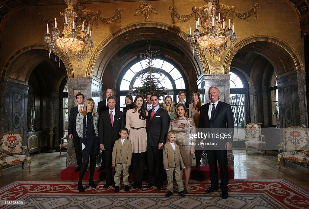 Prince Gabriel of Luxembourg, Prince Noah of Luxembourg,Gabriele Lademacher , Grand Duke Henri of Luxembourg, Claire Lademacher, <a gi-track='captionPersonalityLinkClicked' href=/galleries/search?phrase=Prince+Felix+of+Luxembourg&family=editorial&specificpeople=6881094 ng-click='$event.stopPropagation()'>Prince Felix of Luxembourg</a>, <a gi-track='captionPersonalityLinkClicked' href=/galleries/search?phrase=Grand+Duchess+Maria+Teresa&family=editorial&specificpeople=159000 ng-click='$event.stopPropagation()'>Grand Duchess Maria Teresa</a> of Luxembourg, Hartmut Lademacher , Prince Sebastien of Luxembourg, Felix Lademacher, <a gi-track='captionPersonalityLinkClicked' href=/galleries/search?phrase=Princess+Alexandra+of+Luxembourg&family=editorial&specificpeople=160220 ng-click='$event.stopPropagation()'>Princess Alexandra of Luxembourg</a>, Prince Guillaume of Luxembourg, Princess Stephanie of Luxembourg, <a gi-track='captionPersonalityLinkClicked' href=/galleries/search?phrase=Prince+Louis+of+Luxembourg&family=editorial&specificpeople=674475 ng-click='$event.stopPropagation()'>Prince Louis of Luxembourg</a> and <a gi-track='captionPersonalityLinkClicked' href=/galleries/search?phrase=Princess+Tessy+of+Luxembourg&family=editorial&specificpeople=7064107 ng-click='$event.stopPropagation()'>Princess Tessy of Luxembourg</a> attend a Portrait Session at Chateau De Berg on December 27, 2012 in Luxembourg, Luxembourg.