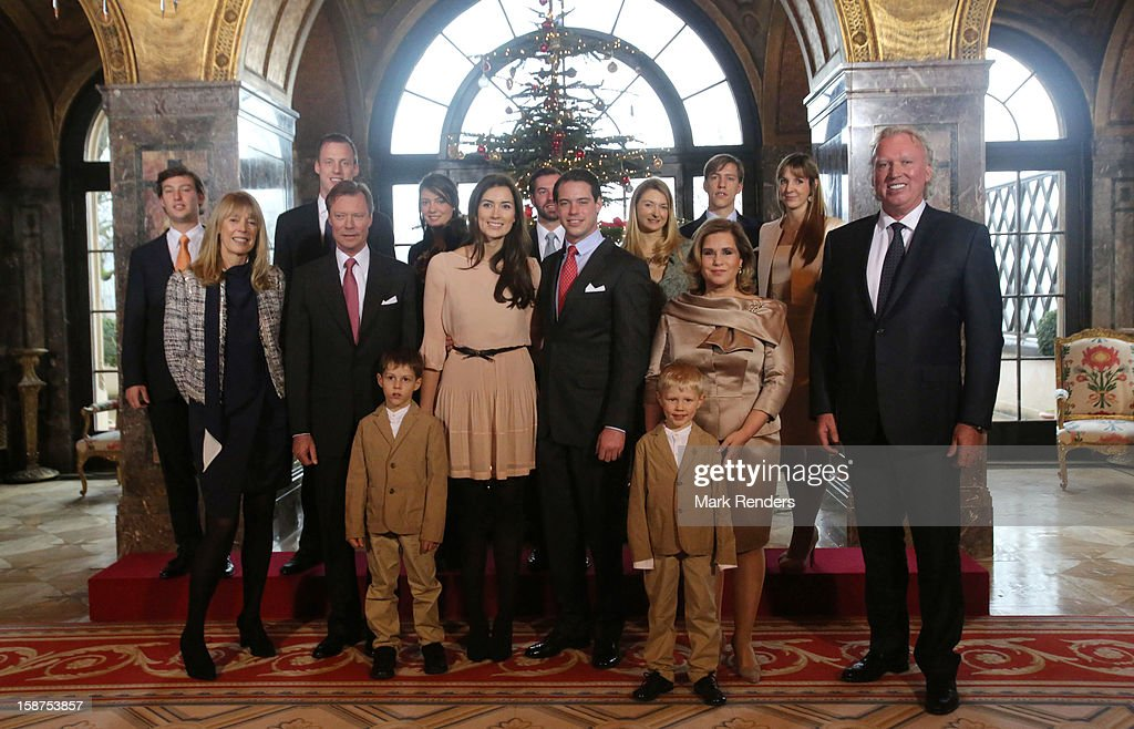 Prince Gabriel of Luxembourg, Prince Noah of Luxembourg,Gabriele Lademacher , Grand Duke Henri of Luxembourg, Claire Lademacher, Prince Felix of Luxembourg, Grand Duchess Maria Teresa of Luxembourg, Hartmut Lademacher , Prince Sebastien of Luxembourg, Felix Lademacher, Princess Alexandra of Luxembourg, Prince Guillaume of Luxembourg, Princess Stephanie of Luxembourg, Prince Louis of Luxembourg and Princess Tessy of Luxembourg attend a Portrait Session at Chateau De Berg on December 27, 2012 in Luxembourg, Luxembourg.