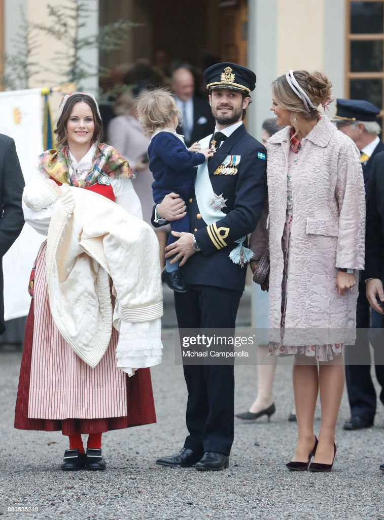Prince Gabriel of Sweden, Duke of Dalarna held by Princess Sofia of Sweden and Prince Carl Philip holding Prince Alexander, Duke of Sodermanland and Princess Madeline of Sweden after the christening of Prince Gabriel of Sweden at Drottningholm Palace Chapel on December 1, 2017 in Stockholm, Sweden.