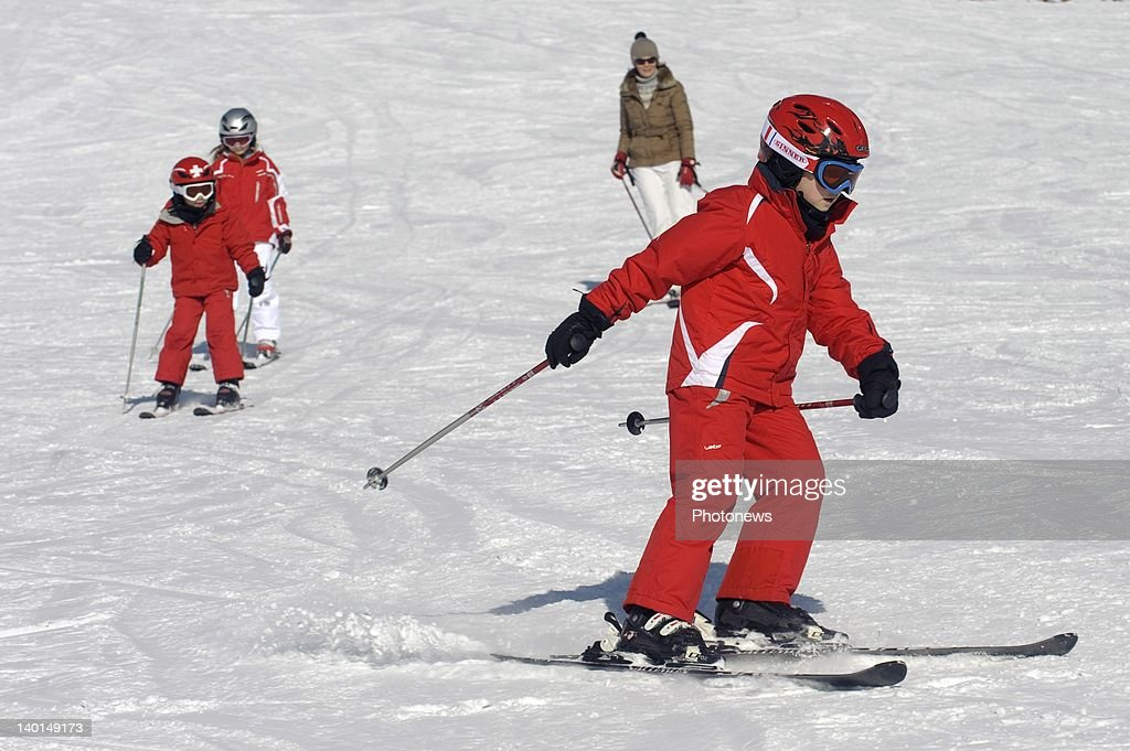 VERBIER , SWITZERLAND - FEBRUARY 22, 2012: Prince Gabriel on the ski slopes during the Royal Family Skiing Holiday on February 22,2012 in Verbier,Switzerland.