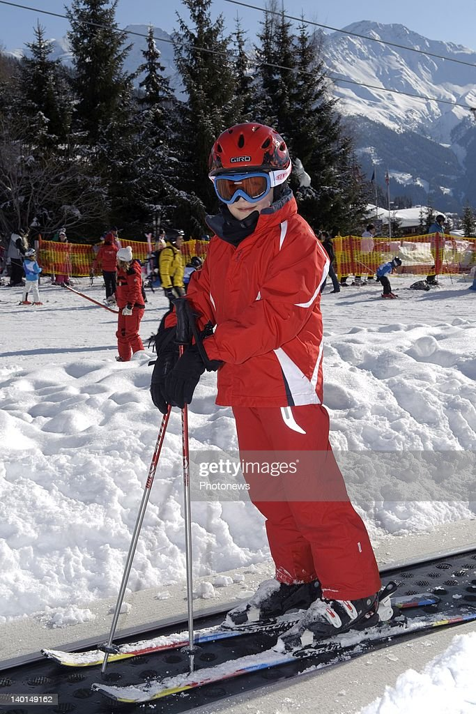 VERBIER , SWITZERLAND - FEBRUARY 22, 2012: Prince Gabriel poses on the ski slopes during the Royal Family Skiing Holiday on February 22,2012 in Verbier,Switzerland.