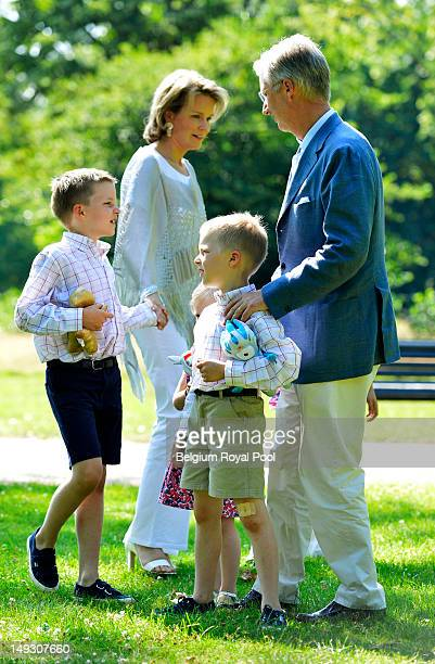 Prince Gabriel Prince Emmanuel Princess Mathilde and Prince Philippe of Belgium pose for a photo during a visit to central London on July 26 2012 in...