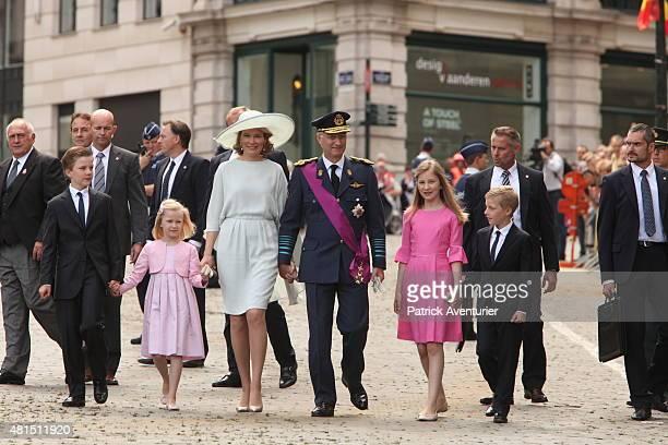 Prince Gabriel Princess Eleonore Queen Mathilde of Belgium King Philippe of Belgium Crown Princesse Elisabeth and Prince Emmanuel walk together after...