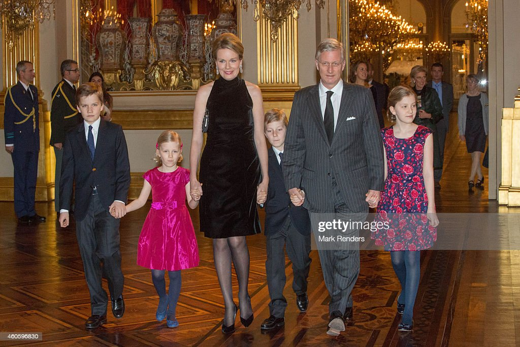 Prince Gabriel, Princess Eleonore, Queen Mathilde, Prince Emmanuel, King Philippe and Princess Elisabeth of Belgium attend the Xmas Concert at the Royal Palace on December 17, 2014 in Brussel, Belgium.
