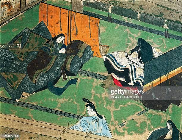 Prince Genji visiting his wife illustration for The Tale of Genji Japanese novel by Murasaki Shikibu