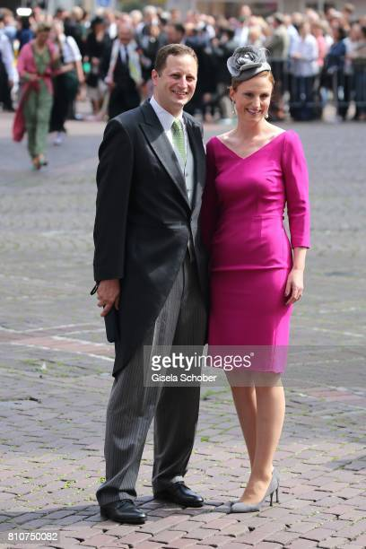 Prince Georg Friedrich Ferdinand Prince of Prussia and his wife Princess Sophie of Prussia von Preussen during the wedding of Prince Ernst August of...