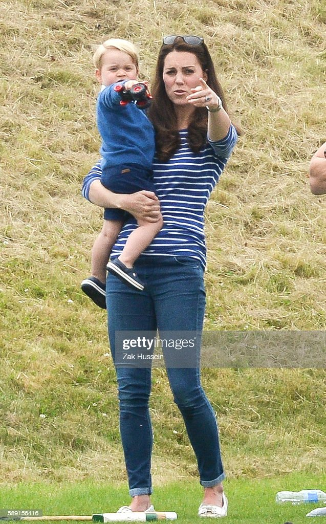 Prince George and Catherine Duchess of Cambridge attend the Gigaset Charity Polo Match at the Beaufort Polo Club in Tetbury