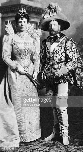 Prince George and Mary of Teck in fancy dress Devonshire House Ball 1897 The future King George V with his wife in Elizabethan costume Illustration...