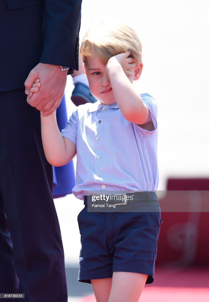 Prince George arrives at Berlin's Tegel Airport during an official visit to Poland and Germany on July 19, 2017 in Berlin, Germany.
