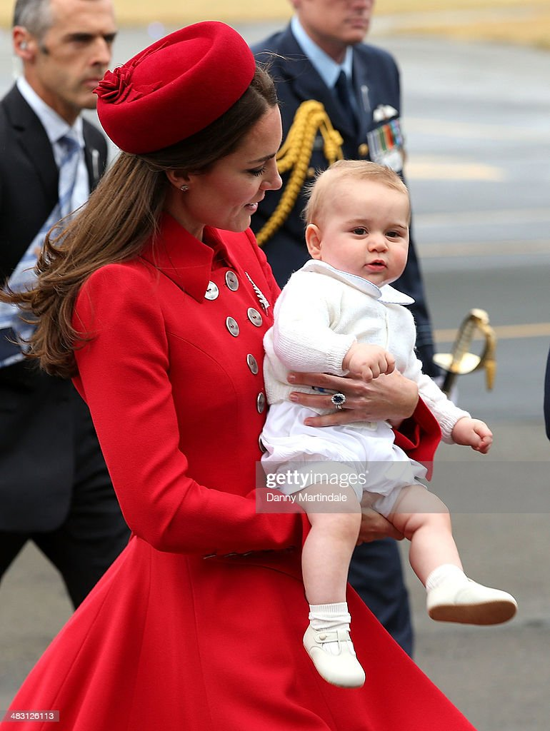 Prince George of Cambridge and Catherine, Duchess of Cambridge arrive in New Zealand at Wellington Airport on April 7, 2014 in Wellington, New Zealand. The Duke and Duchess of Cambridge are on a three-week tour of Australia and New Zealand, the first official trip overseas with their son, Prince George of Cambridge.