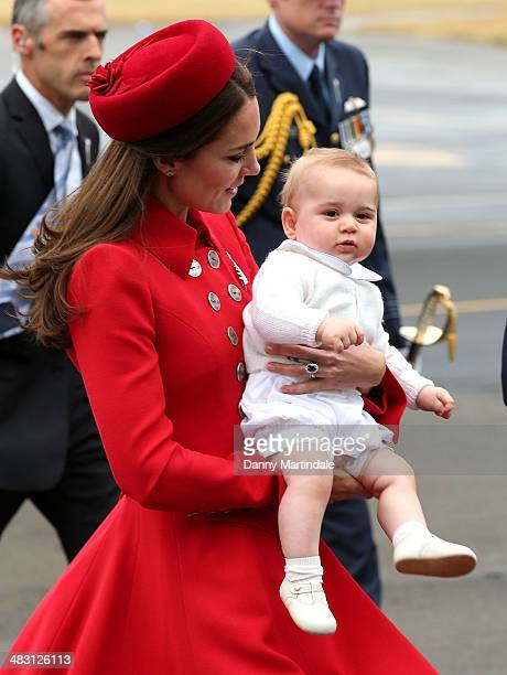 Prince George of Cambridge and Catherine Duchess of Cambridge arrive in New Zealand at Wellington Airport on April 7 2014 in Wellington New Zealand...