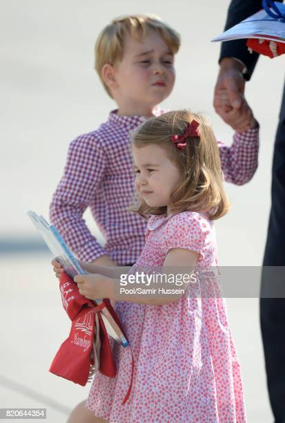 Prince George of Cambridge and Princess Charlotte of Cambridge depart from Hamburg airport on the last day of their official visit to Poland and...