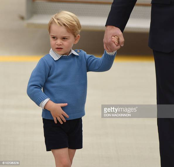 Prince George of Cambridge arrives at 443 Maritime Helicopter Squadron base on September 24 in Victoria British Columbia The prince and his wife...