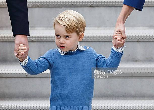 Prince George of Cambridge arrives at 443 Maritime Helicopter Squadron near Victoria international airport on September 24 2016 in Victoria Canada...