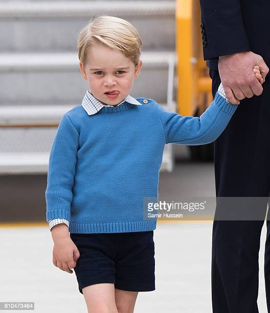 Prince George of Cambridge arrives at Victoria airport for the start of of their Royal tour of Canada on September 24 2016 in Victoria Canada