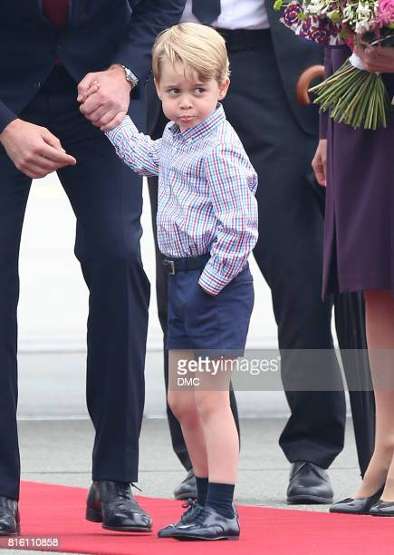 Prince George of Cambridge arrives at Warsaw airport during an official visit to Poland and Germany on July 17 2017 in Warsaw Poland