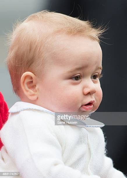 Prince George of Cambridge arrives at Wellington Airport's military terminal for the start of their tour on April 7 2014 in Wellington New Zealand...