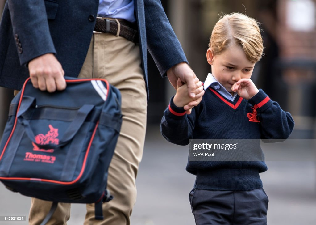 Prince George of Cambridge arrives for his first day of school at Thomas's Battersea on September 7, 2017 in London, England.