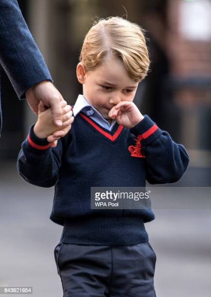 Prince George of Cambridge arrives for his first day of school at Thomas's Battersea on September 7 2017 in London England