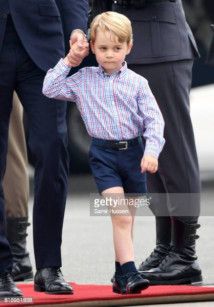 Prince George of Cambridge as he arrives with Prince William Duke of Cambridge Catherine Duchess of Cambridge and Princess Charlotte of Cambridge on...